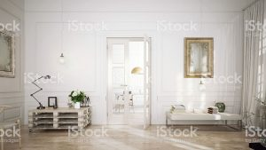 Aménagement intérieur blanc, chic et moderne
