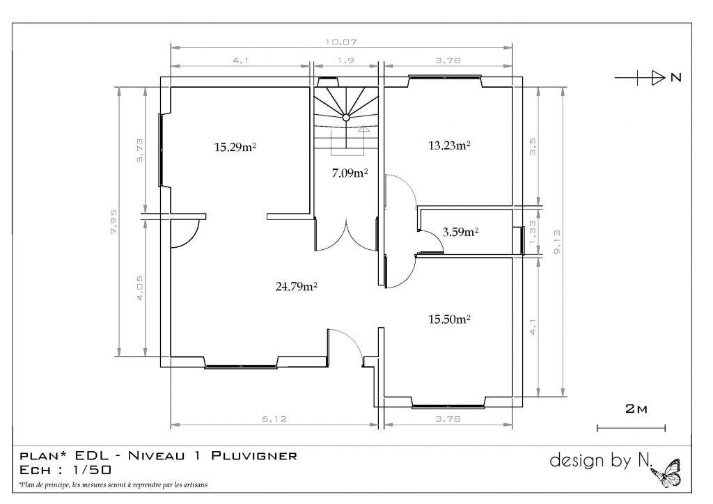 Maison Pluvigner 1er étage avant projet