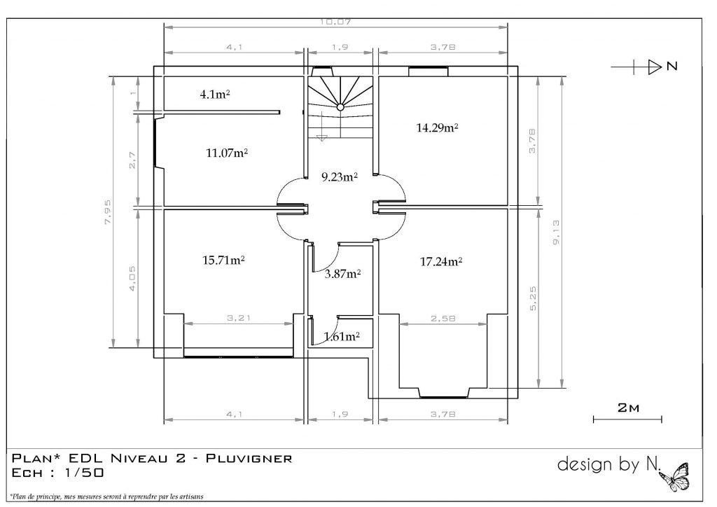 Maison Pluvigner 2ème étage avant projet