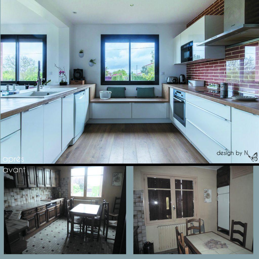 Aménagement de la cuisine - vues avant/après