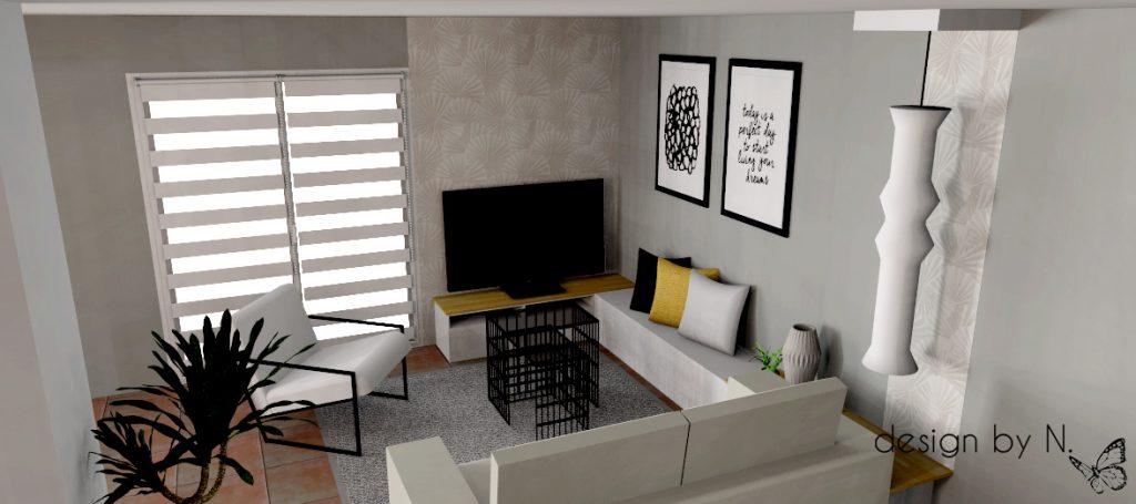 Projet d'aménagement vue salon 1