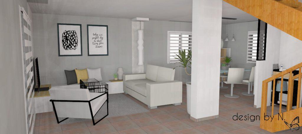Projet d'aménagement vue séjour 1