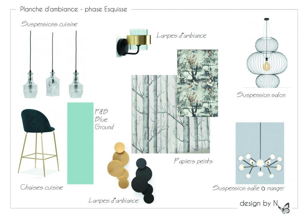Planche de présentation des mobiliers, luminaires et revêtements proposés