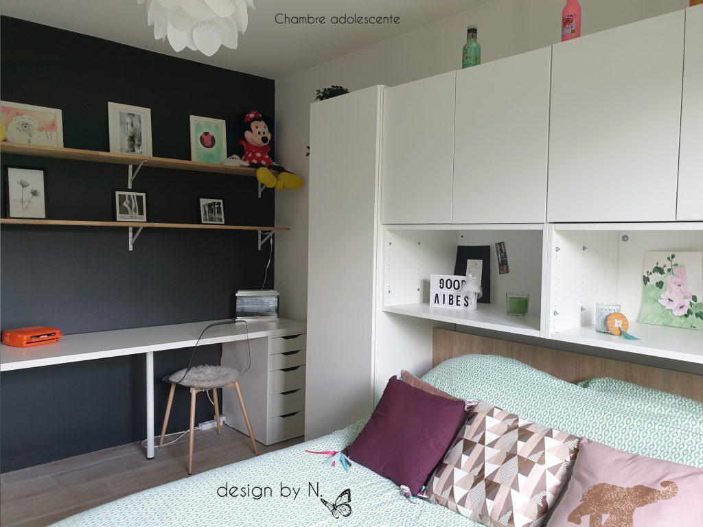 décoration aménagement chambre jeune féminine blanc et noir