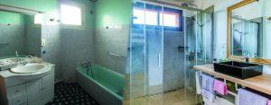 Avant/après rénovation salle d'eau douche moderne