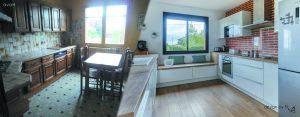 Avant/après rénovation cuisine ouverte blanche brique