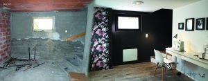 Avant/après réhabilitation sous-sol semi enterré noir papier peint fleur moderne