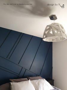 décoration aménagement chambre bleu pétrol graphique