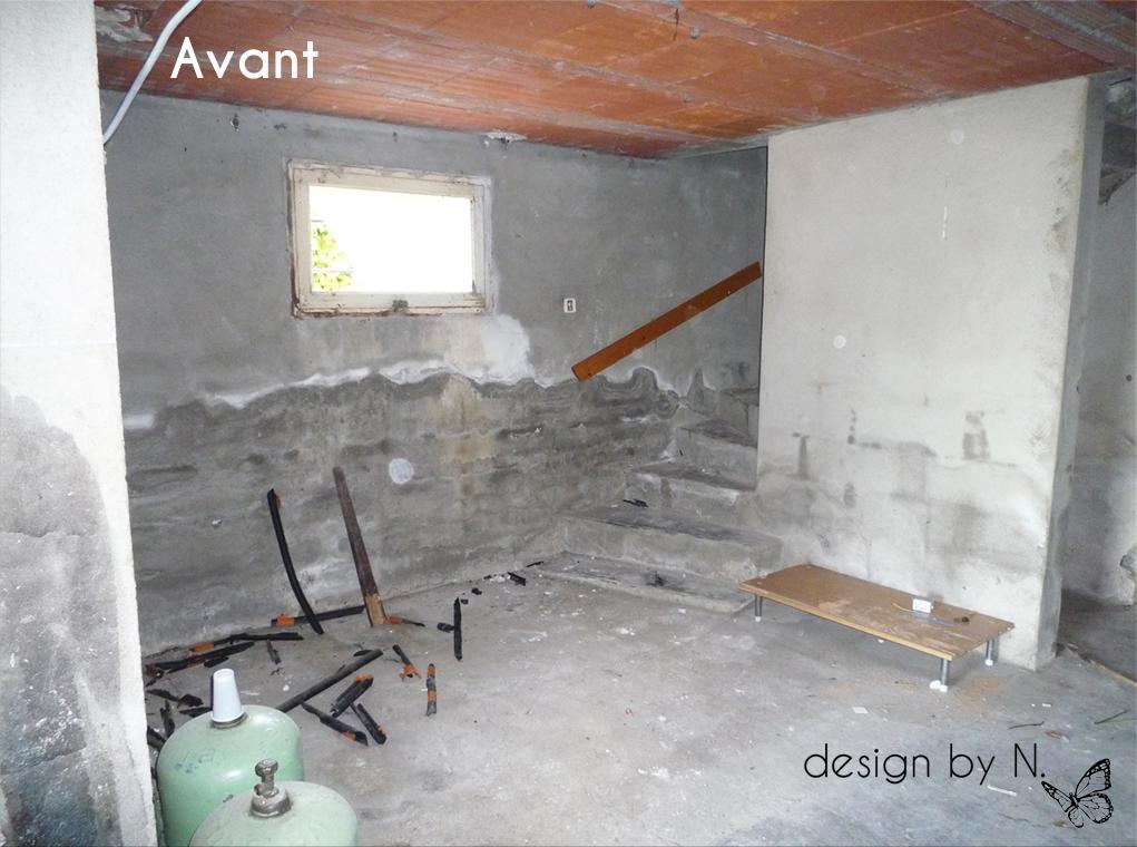 Photo avant / Création, agencement et décoration d'un palier/atelier en sous-sol