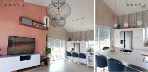 Photo après _ conception sur-mesure design by N. meuble TV et suspension et chaises cuisine