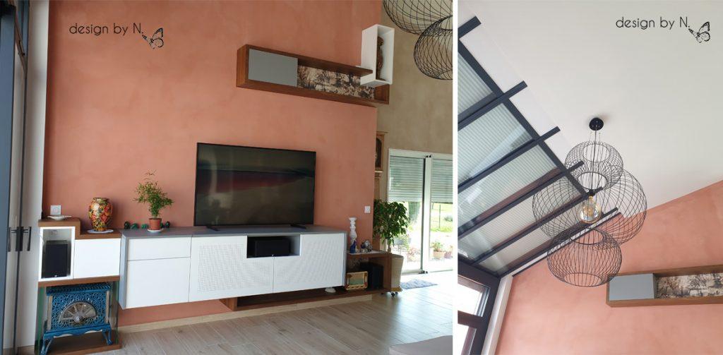 Photo après _ conception sur-mesure design by N. meuble TV et suspension salon