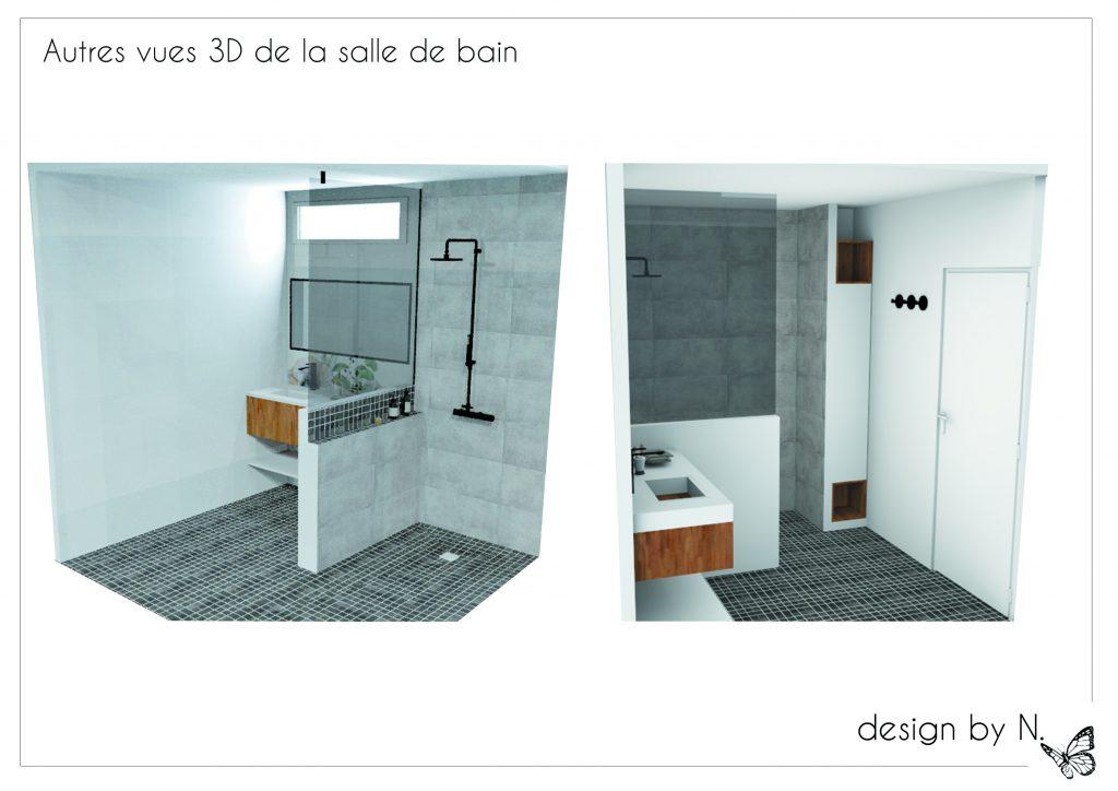 Dessin 3D projet salle d'eau Alix