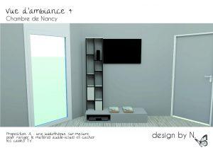 Dessin 3D projet meuble TV - Chambre Alix